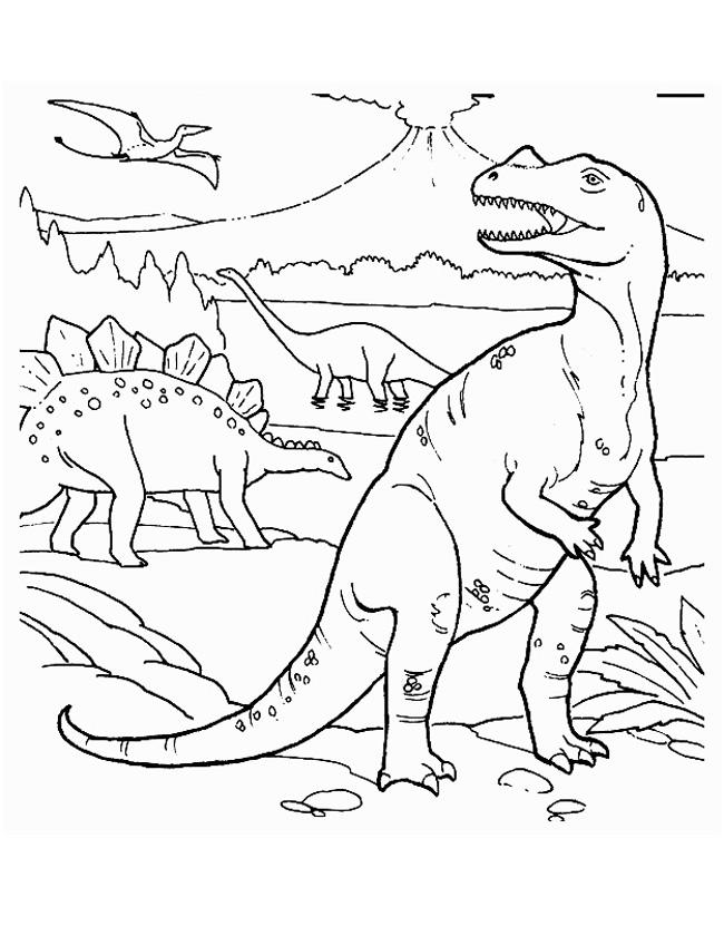 Gratis kleurplaat De vier bekendste dinosauriers op een kleurplaat