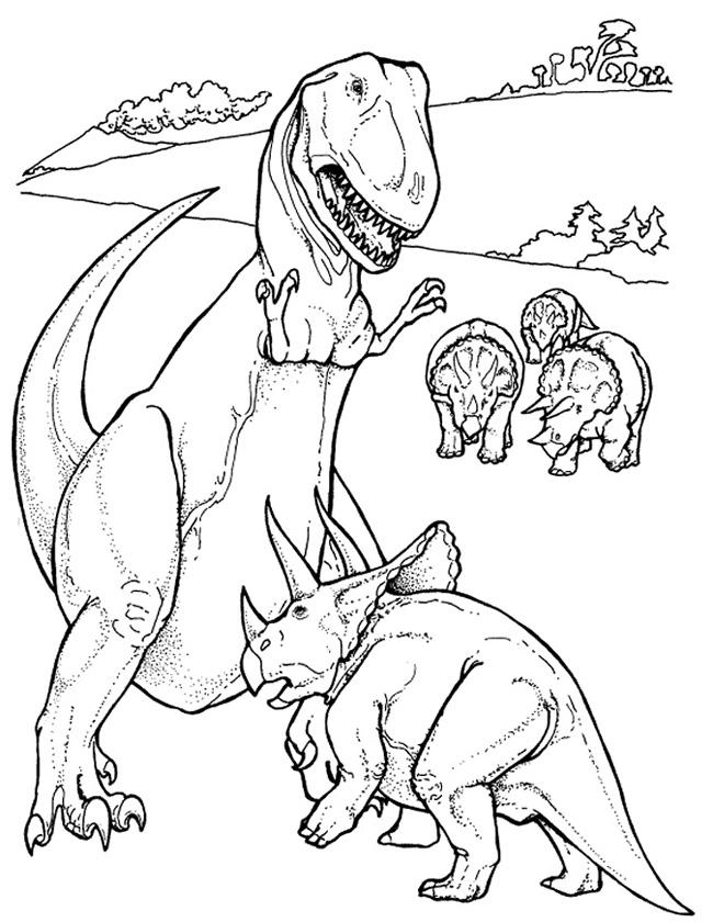 Gratis kleurplaat Vechtende dinosauriers
