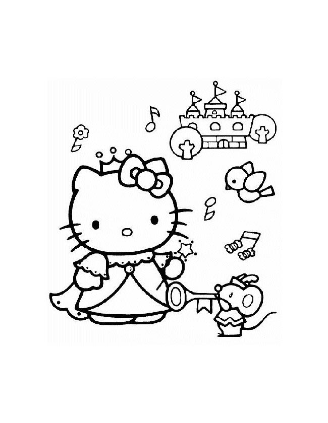 Gratis kleurplaat hello kitty als prinses bij een mooi kasteel
