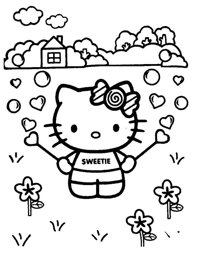 Gratis kleurplaat lieve kleurplaat met hello kitty