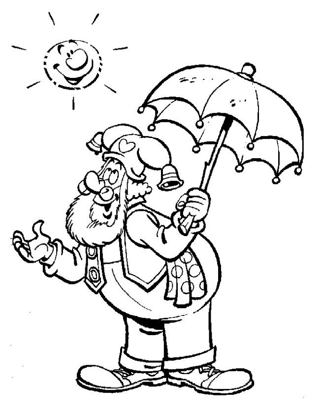 Gratis kleurplaat in de zon met een parasol