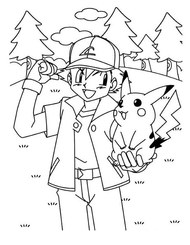 Gratis kleurplaat gezellig met pikachu