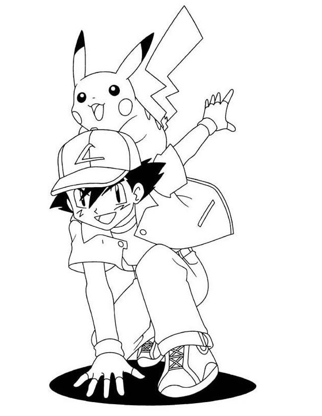 Gratis kleurplaat pikachu op de rug