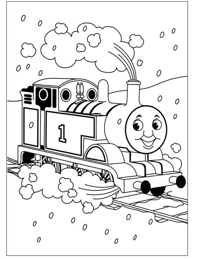 Gratis kleurplaat Thomas in de sneeuw