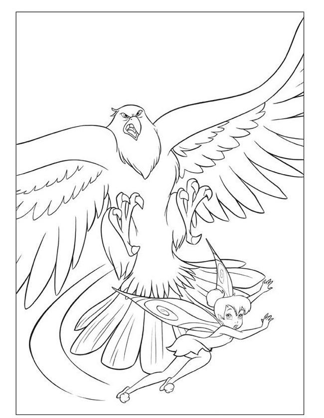 Gratis kleurplaat enge vogel met elfje