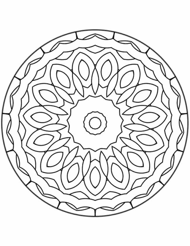 Gratis kleurplaat mandala ovaal