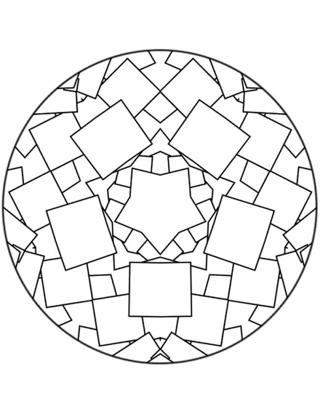 Gratis kleurplaat mandala vierkanten