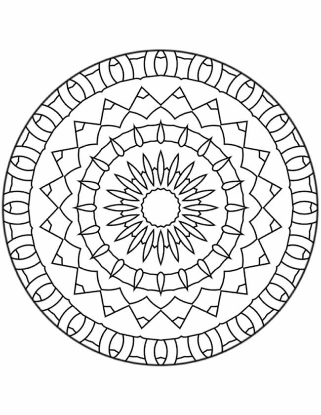 Gratis kleurplaat mandala ringen