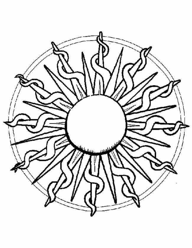 Gratis kleurplaat mandala zonnestralen