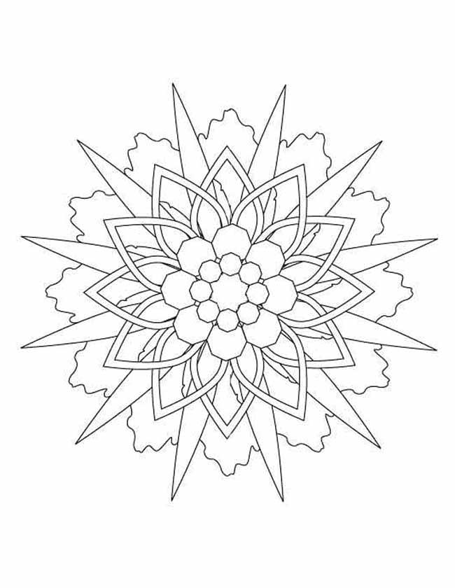 Gratis kleurplaat sterren mandala