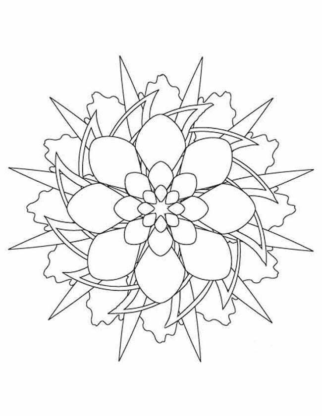 Gratis kleurplaat mandala sterpatroon