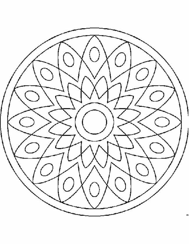 Gratis kleurplaat Zonnen mandala