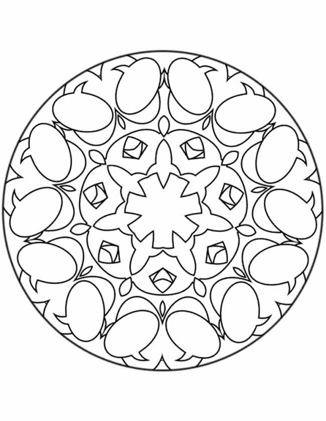 Gratis kleurplaat Mandala tekstballonnetjes