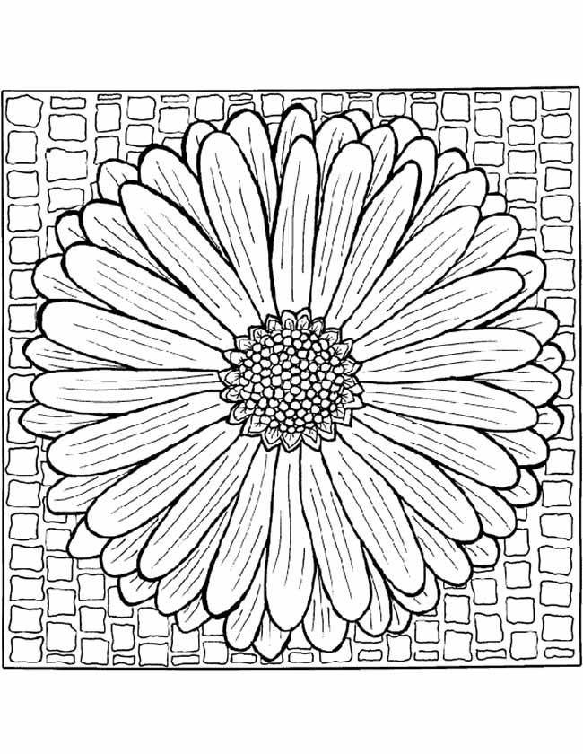 Gratis kleurplaat Mandala bloempatroon