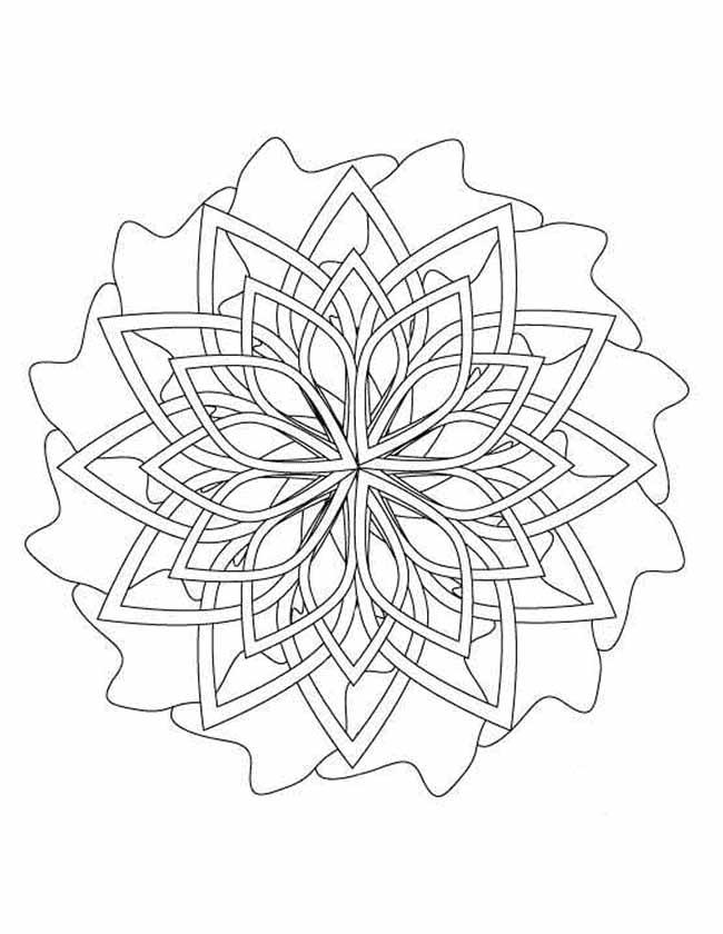 Gratis kleurplaat Mandala waaier