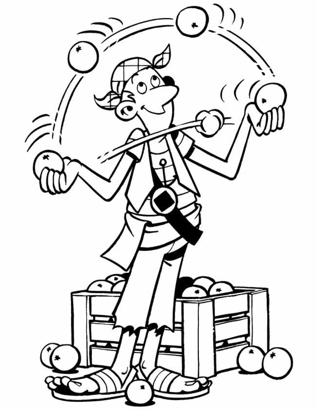 Gratis kleurplaat piraat jongleert