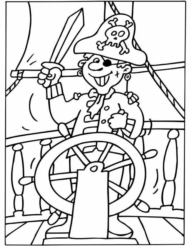 Gratis kleurplaat piraat zwaait met zwaard