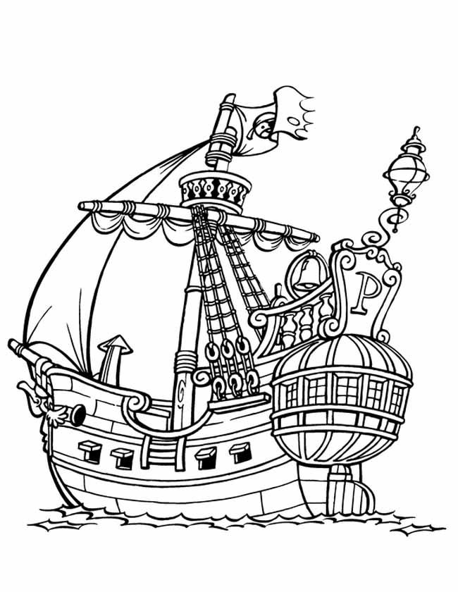 Gratis kleurplaat grote piratenboot