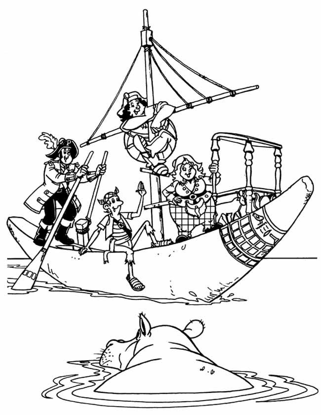 Gratis kleurplaat piratenboot