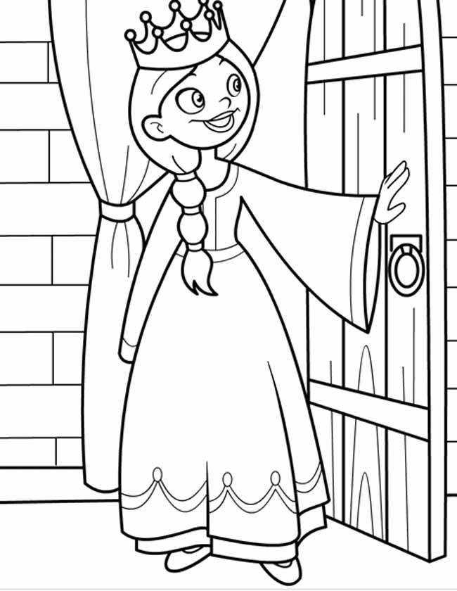 kleuren nu prinses bij de deur kleurplaten