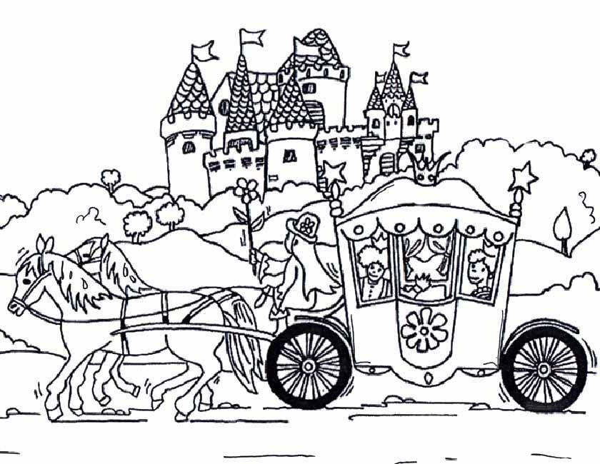 Gratis kleurplaat kasteel met koets