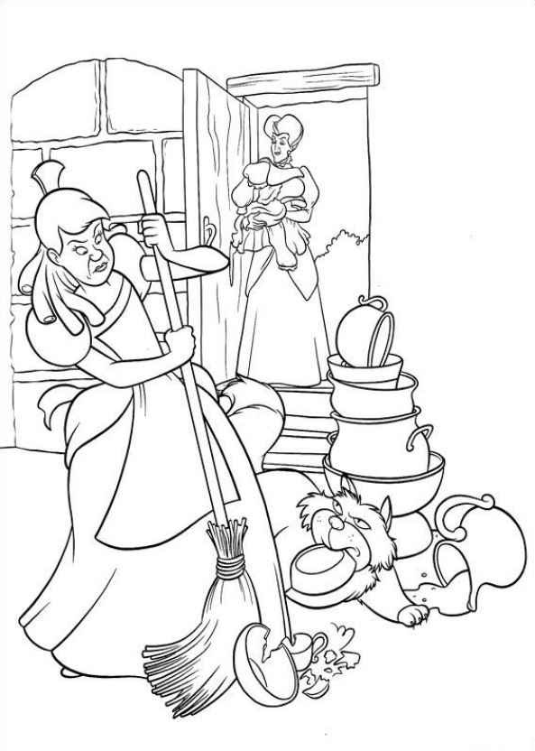 Gratis kleurplaat assepoesters stiefmoeder en stiefzus