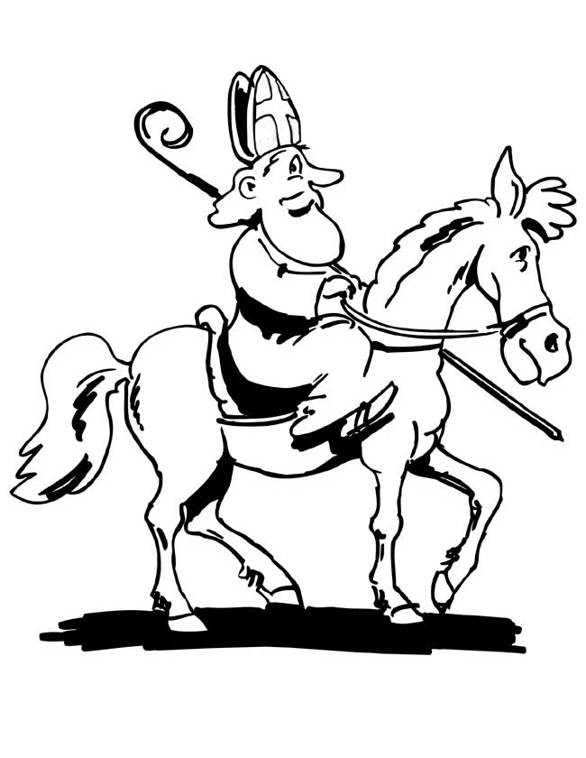 Gratis kleurplaat Sinterklaas op zijn paard