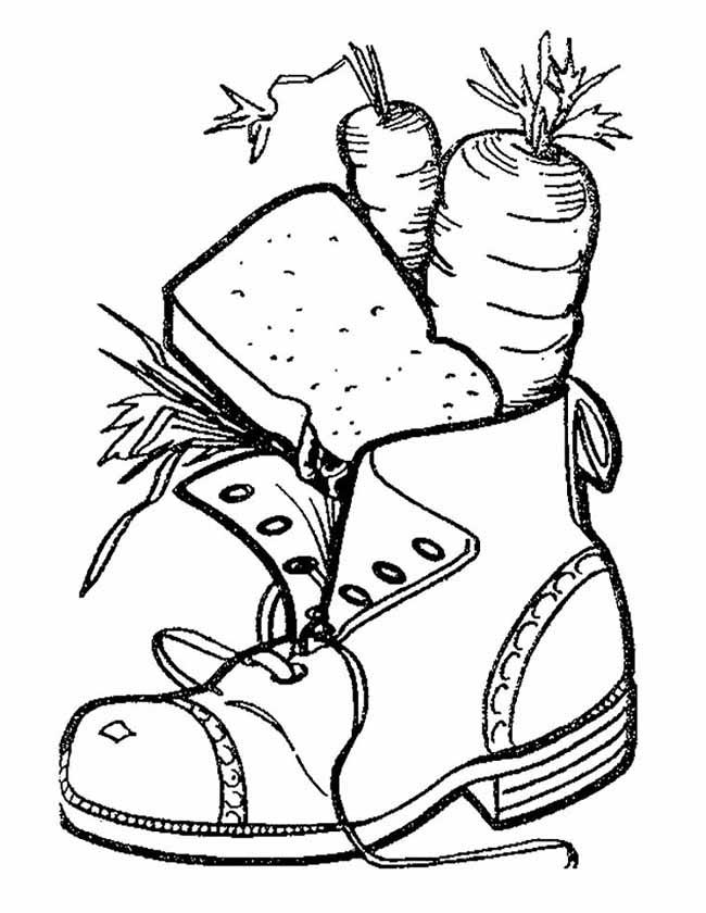 Gratis kleurplaat Schoen met wortels voor het paard