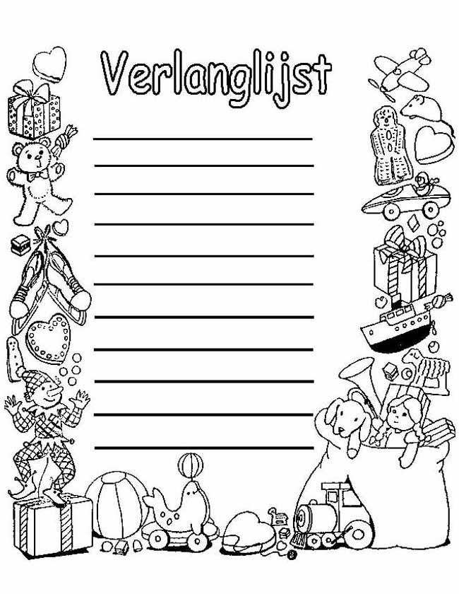 Gratis kleurplaat Sinterklaas verlanglijstje