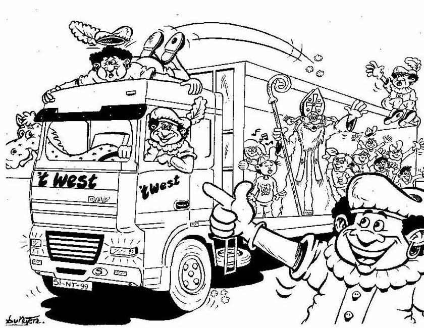 Gratis kleurplaat Sinterklaas vrachtwagen