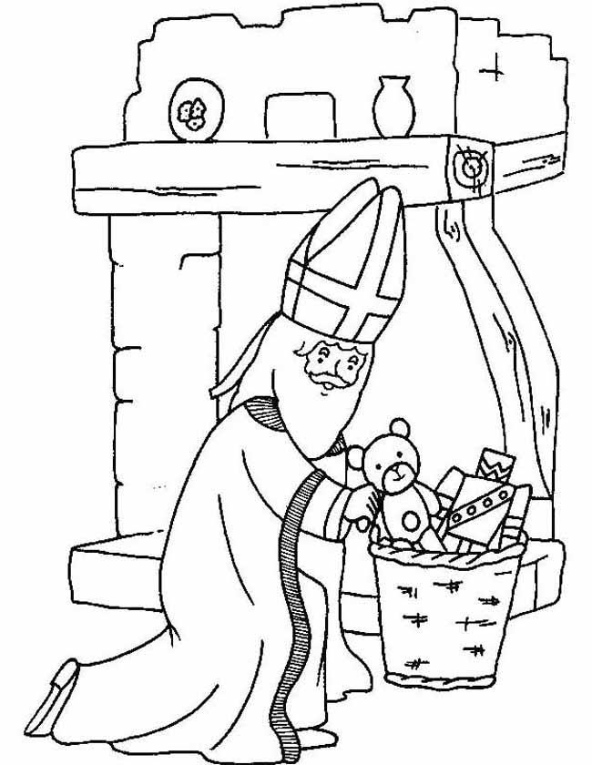 Gratis kleurplaat Sinterklaas bij schoorsteen