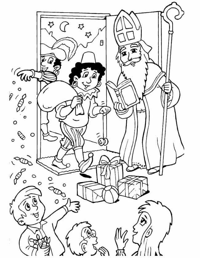 Gratis kleurplaat Sinterklaas komt thuis bij de kinderen