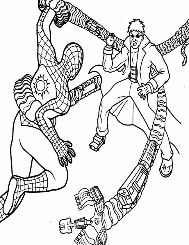 Gratis kleurplaat Spiderman gevecht