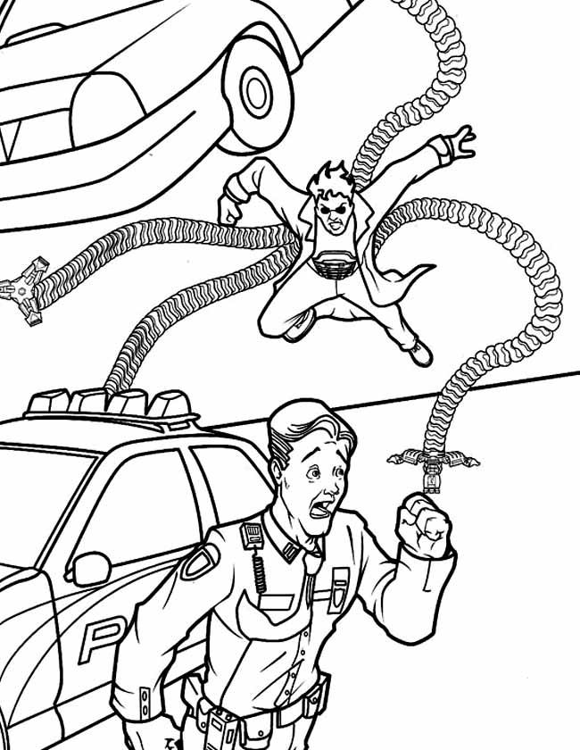 Gratis kleurplaat Spiderman politie