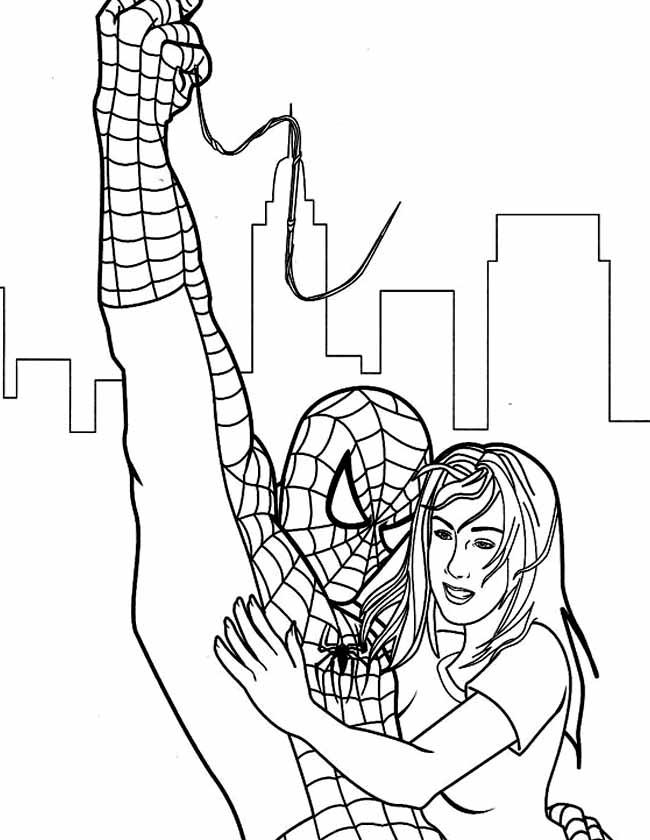 Gratis kleurplaat spiderman samen met vrouw