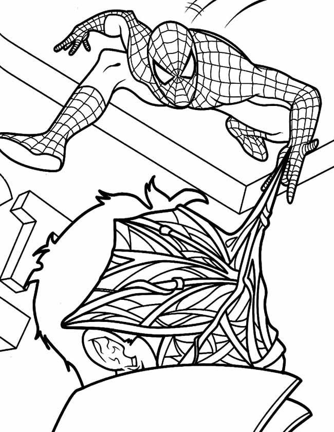 Gratis kleurplaat spiderman