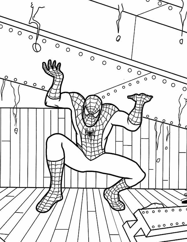 Gratis kleurplaat spiderman steunbalk