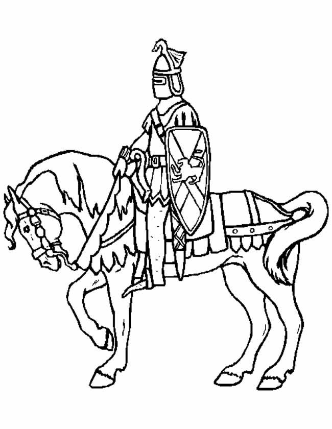 Gratis kleurplaat ridder op een paard
