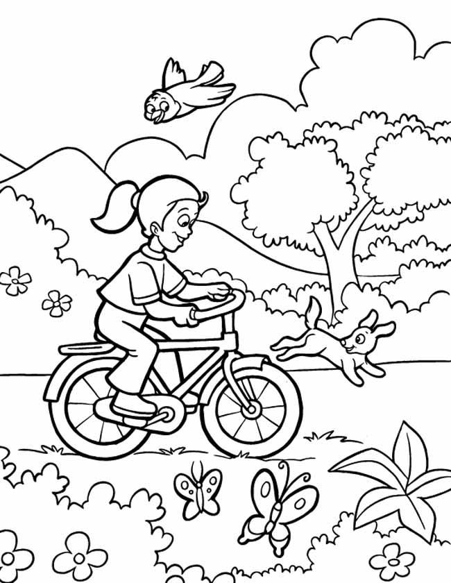 Gratis kleurplaat Mooi stuk fietsen door het bos