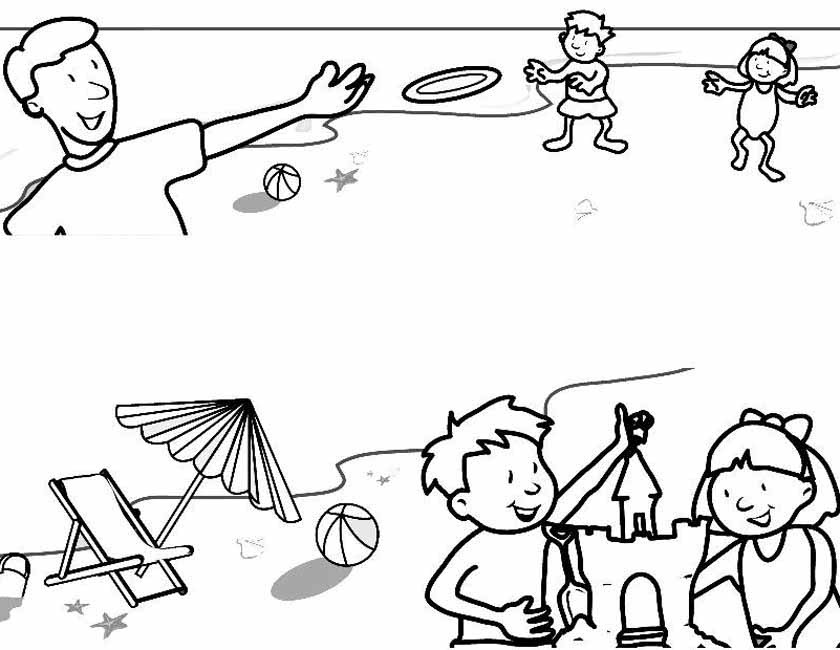 Gratis kleurplaat Spelen op het strand