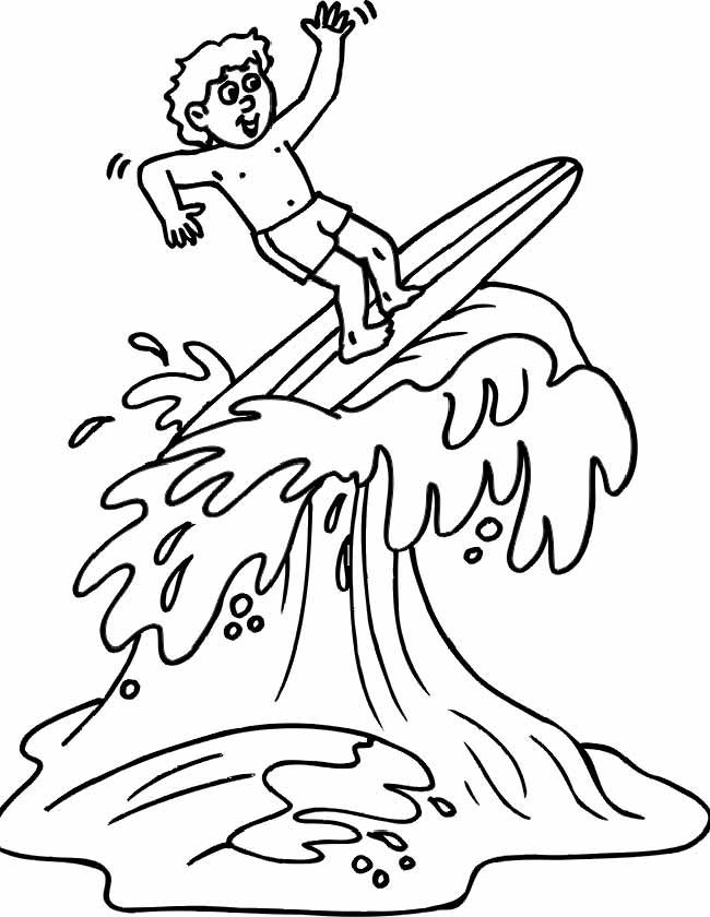Gratis kleurplaat surfen op het water