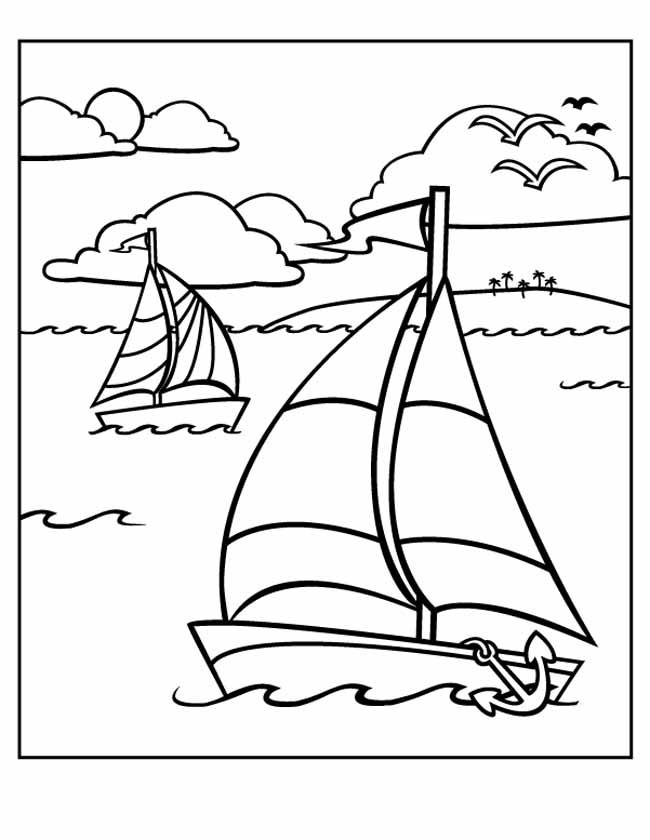 Gratis kleurplaat zeilboten op zee