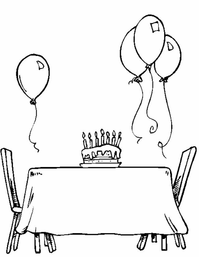 Gratis kleurplaat Taart met tafel en ballonnen