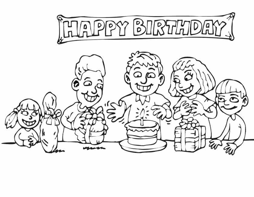 Gratis kleurplaat Happy birthday kinderen
