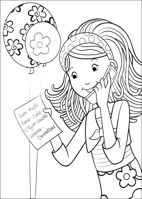 Gratis kleurplaat meisje belt verjaardagslijst door