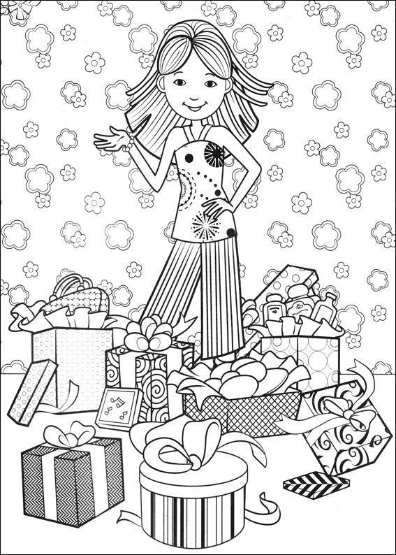 Gratis kleurplaat meisje krijgt cadeau