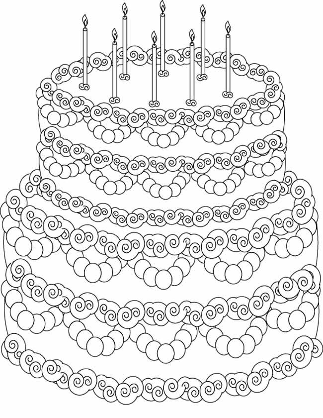 Kleurplaat verjaardagstaart