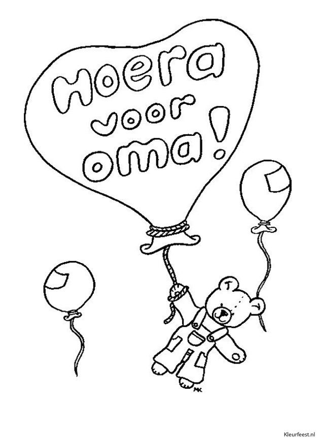Gratis kleurplaat ballon met hoera voor oma