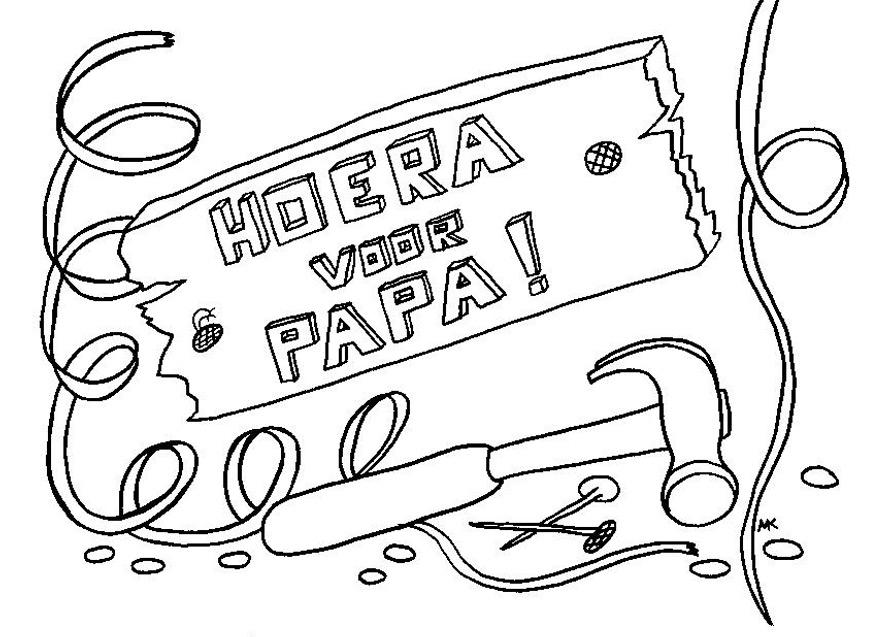 Gratis kleurplaat Hoera voor papa