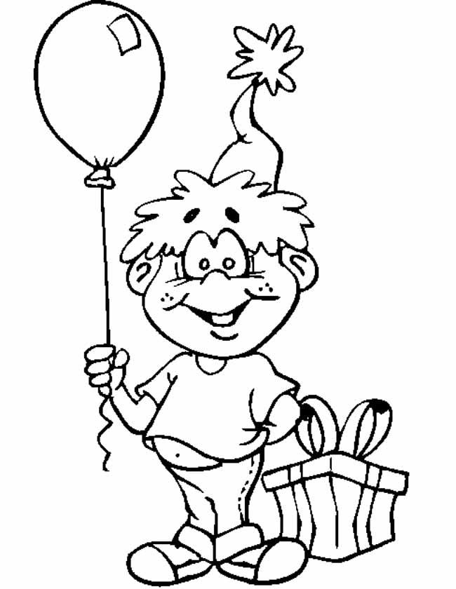 kleuren nu jongen met ballon kleurplaten